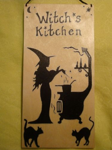 "Witch's  Kitchen Large Unique Wooden Sign Witch Wicca Pagan Occult 12"" x 6"" Unique Handcrafted OOAK Black Cats"